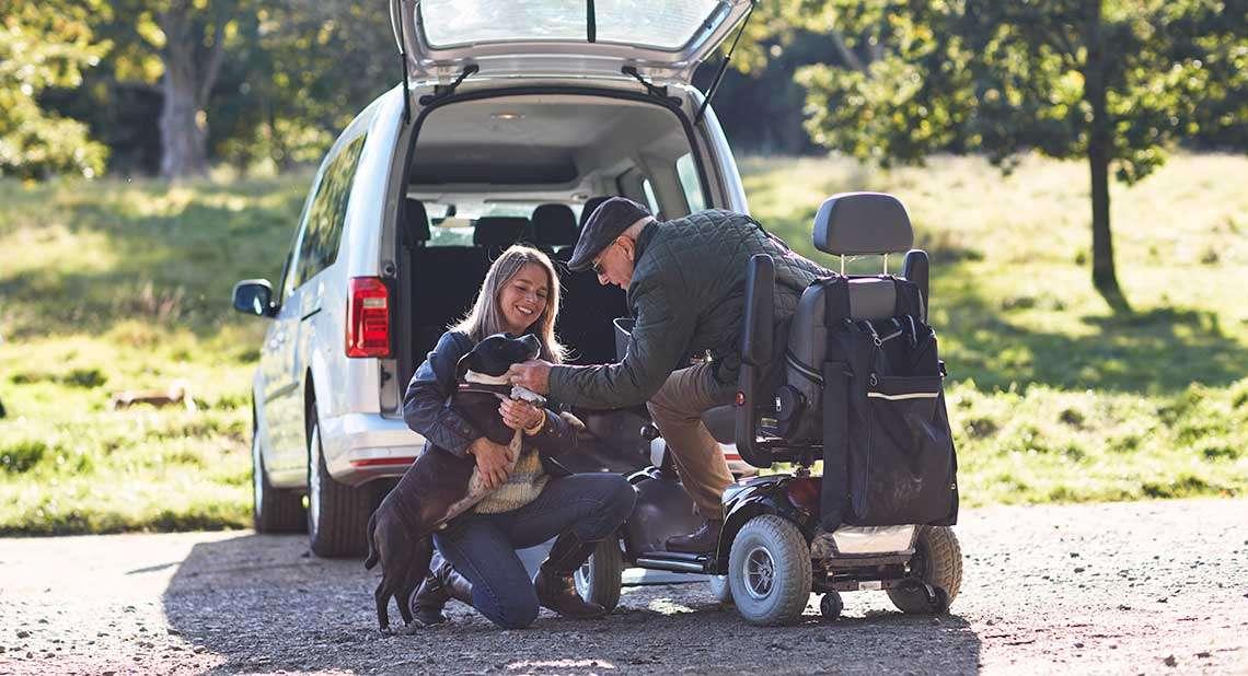 Motability Scheme customer on a dog walk